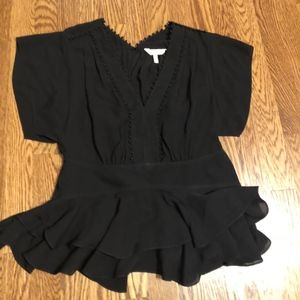 Rebecca Taylor Black V Neck Silk Blouse Sz 2